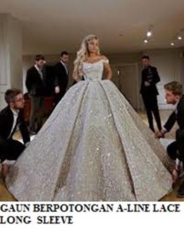 Gaun Berpotongan A – Line dengan Lace Long Sleeve